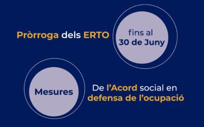 Pròrroga dels ERTO i altres mesures de l'Acord social en defensa de l'ocupació