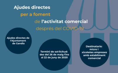Aprovades les ajudes directes per a foment de l'activitat comercial després de la crisi sanitària pel COVID-19