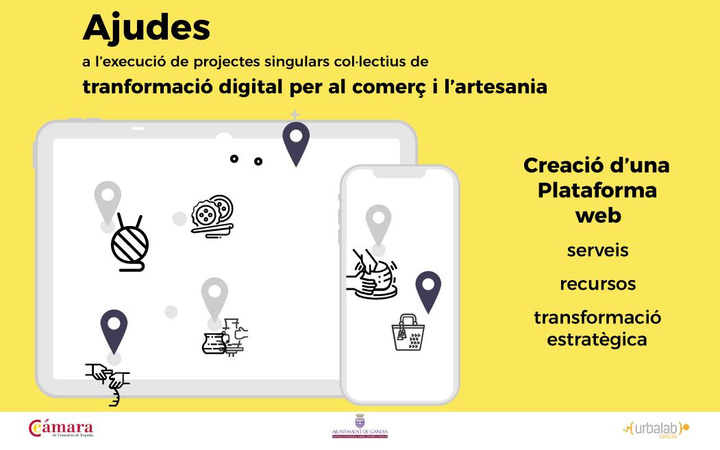 L'Ajuntament de Gandia continua apostant per la transformació digital amb la sol·licitud d'un projecte per als sectors comerç i artesania